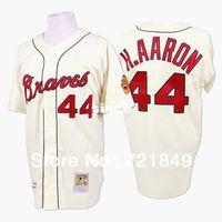 milwaukee - 30 Teams Brand new Milwaukee Atlanta Braves Jerseys Hank AARON baseball Jersey throwback TB cream white who