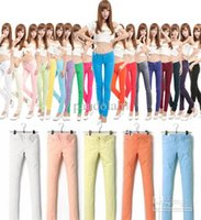 color jeans - 2015 Hot Candy Pants Womens Casual Jeans Skinny Skinny Tight Candy Color Jeans Size Colors Casual Trousers