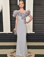 best picture awards - Best Dress Straight Batea At Oscar Awards Feathers Off the Shoulder Celebrity Dressess Inpired by Kate Bosworth evening gowns