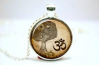 om pendant - 10pcs Om Necklace Namaste Yoga Jewelry Brown Tree Zen Pendant Glass Cabochon Necklace1