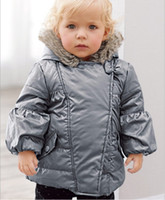 Wholesale Small Baby Boys Girls Winter Down Jackets Children Silver Hooded Tench Coats Kids Clothing Infants Thickening Down Coat Outwear Warm Clothes