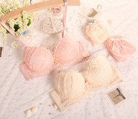 accent trim - Full Embroidery Lace Push Up Bra and Panties Thong Set Ribbon Accent Lace Trim Bridal Bras Set of Girls Underwear Lingerie