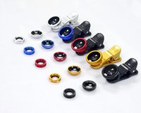 Wholesale Real glass Universal in Clip On Fish Eye Lens Wide Angle Macro Lens Camera kit for iPhone Samsung all phones