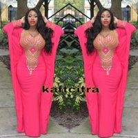 Wholesale Crystal Moroccan Dress - 2016 Long Mermaid Moroccan Evening Dress Sexy V-Neck Gold Beaded Long Sleeves Prom Gowns Arabic Moroccan Kaftan Formal Party Dresses