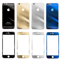 Wholesale For iPhone6 plus iPhone S Front and back Colorful Tempered Glass Film Screen Protector Membrane Color Plating Explosion Proof