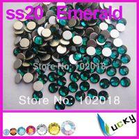 Wholesale 2014 hot sale ss20 bag Emerald Color Flatback non hotfix rhinestone Nail art crystal beads For DIY
