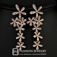 Wholesale The Noble Style k Rose Gold Plated Full Rhinestone Crystal Snowflake Flower Exaggerated Dangle Earrings JingJing GE009