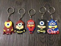 Wholesale 2015 NEW D Despicable Me Minion Action Figure two sided flat Keychain Keyring Superhero styles freeShip