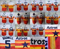 astros baseball jersey - Houston Astros Jeff Bagwell Craig Biggio Carlos Correa George Springer Dallas Keuchel Rainbow Orange Jersey