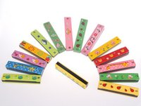 aids hands - Color hand painted wooden toy harmonica music instrument paternity aids wooden baby toys