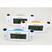 alarm clock projection temperature - Digital LED Dual Laser Snooze Dual Projection Alarm Clock Voice Controlled Temperature Time Christmas New Year gift