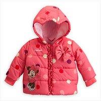Baby Girl Abrigo Outwear acolchado: niños de la historieta del ratón Chaqueta Impreso con arco Chicas Vestir Invierno lindo alta calidad Outfit