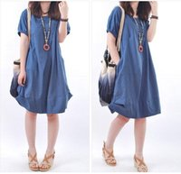 Wholesale 2015 maternity dress plus size S XXL Summer fashion Loose linen breathable buttons O neck Pregnant women s clothes Colors