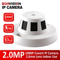 Wholesale H Covert MP P Wired IP Camera With POE HD Onvif P2P Function Security Indoor Network Dome Cameras Smoke Detector Style Hidden