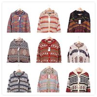 american heater - Foreign trade vintage vintage European and American fashion retro sweater cardigan sweater A10 Thunderbolt hippie style