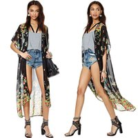Wholesale New Europe Chiffon Long Blouses Vintage Girls Floral Print Open Front kimono Outerwear Short Sleeve Loose Shirts dress Coat G0704