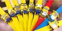 Crew Neck auto shanghai - 2016 Silicone Slap Boy Girls Wristwatch Despicable Me Kids Yellow Minion Watch Children D Cartoon watches one piece MYF235