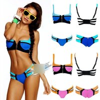 beach bunny bikini - New Beach Bunny Swimwear Set Neon Pink Blue Color Block Zipper Push Up Padded Top Skimpy Bikini Bottom Brand Swimsuit Size S XL A1826