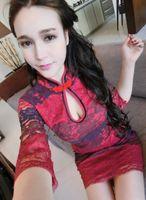 Wholesale Women fashion lace wedding dress temperament goddess acme elegant Chinese style lace qipao sexy dress
