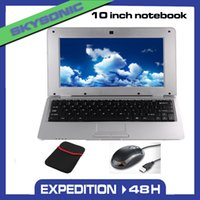 Wholesale 10 inch Android Netbook Laptop Notebook Pad Tab with G G G WIFI HDMI Dual Core year warranty Free Gift with Mouse Bag Silver