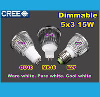 Wholesale DHL High power CREE Led Lamp W W W Dimmable GU10 MR16 E27 E14 GU5 B22 Led spot Light Spotlight bulb downlight lighting