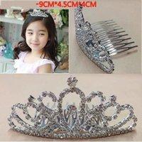 Wholesale Children Hair Accessories Girl Rhinestone Hair Pin Tiara Flower Girl Princess In Stock