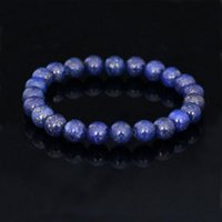 Wholesale Natural stone Crystal bracelet MM Amethyst Lapis Lazuli Agate Round beads bracelet semi precious stone jewelry women and men