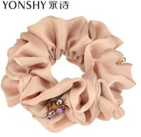 Wholesale Yonshy brand women crystal Elastic hair bands flower diamond hair rope Headwear ribbons Pony Tails Holder OL hair ornaments color