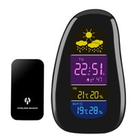Cheap Digital Cobble stone Shaped LED Indoor Outdoor Wireless Weather Station Temperature Humidity Alarm Clock with RF Remote Sensor