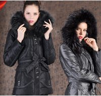 Wholesale 2016 SHENOWA Europe Style Women White Duck Down Real Fur Hooded Down Parkas Long Down Jacket Thick Russia Winter Down