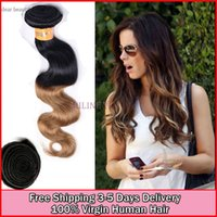 Cheap Hot cheap brazilian virgin ombre hair 3pcslot body wave 6a grade wet and wavy human tone hair weave extension double weft coupon