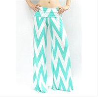 Cheap women chevron palazzo pants wholesale women foldover high waist Zigzag Pants chiffon large