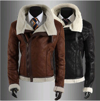 leather coat men - Men s Casual Fleece Fur Jacket Moto Military Leather Lining Trench Biker Coats Black Brown DH04