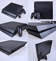 Cheap New Cool Carbon Fiber Sticker For PS4 Console 2Controller Skin Decal Black Free shipping
