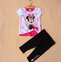Wholesale Cartoon bow cotton clothes Children s suit T shirt pants Cheap leggings jacket baby weat outlets sets Q8