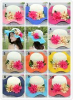 Cheap Sun Hat Beach Hat Sun Hat Hot Womens Summer Elegant False Flower Ornament and Straw Beach Hat Fashion Womens Contrast Color Hat