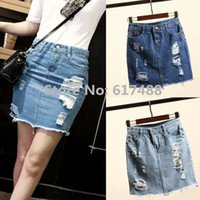 Cheap Womens Fashion 2015 Summer High Waist Denim Skirts Jeans Female Hole Ripped Short Skirt Slim Pencil Mini Skirts Saias For Women