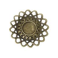 Wholesale 5cm Dia Bronze Tone Round Cabochon Setting Filigree Rippled Edge Embellishments Findings Patches