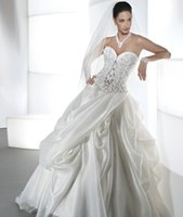 Cheap 2016 Young Brides Wedding Dresses Demetrios Sweetheart Neckline Beaded Draped Organza Ball Gown Bridal Gowns with Basque waist and Lace Up