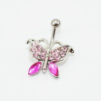 belly ring butterfly - 0208 Nice style BUTTERFLY Navel Belly ring factory price PINK stone drop shipping factory price