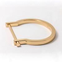 Wholesale Stainless steel plain screw D shackle bangle cuff bracelet fashion horseshoe shaped bracelet