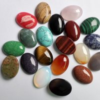Wholesale x25mm Mixed Natural stone Oval CAB CABOCHON jewelry opal rose quartz Tiger eye stone beads