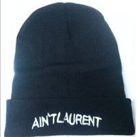 laurent - Knitted Beanies with Letters for Unisex Acrylic Hats Ain t Laurent Winter Hiphop Hats Mixed Order Drop Shipping