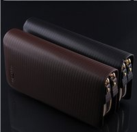 Wholesale The new double zipper more than for large capacity hand bag business fashion for men Pure color leisure wallet
