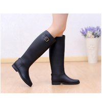 high heel rubber boots - Classic Design Women Rubber Wellies Rain Boots Buckle Waterproof Flat Heel Knee High Rainboots Ladies Water Shoes