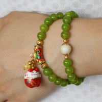 beaded treasures - 2015 mm Women Peridot Beads Bracelet Lucky Ceramic Treasure Cat Pendant Female Jewelry Bracelet Multilayer Chain Natural Stone