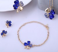 Wholesale Hot sale Silver Plated Lucky Covers Necklace Austrian Crystal Necklace Earring Bracelet Rings Jewelry Set ZQ