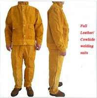 Wholesale COWHIDE WELDING CLOTHING suits Leather welding suits Wear resistant Insulation welding clothes welding protect clothes