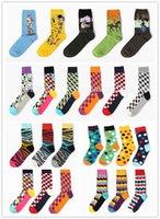 Wholesale men s sock women scks Brand Happy Socks Gradient Color Paragraph Style Pure Cotton Stockings Men s Knee High Business Socks