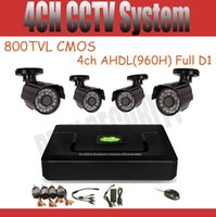 Wholesale 4CH DVR Kit AHDL H Full D1 CCTV System tvl CMOS Waterproof outdoor CCTV Cameras P2P Cloud Security camera System